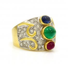 Emerald Ruby Sapphire Diamond 18k Gold Ring