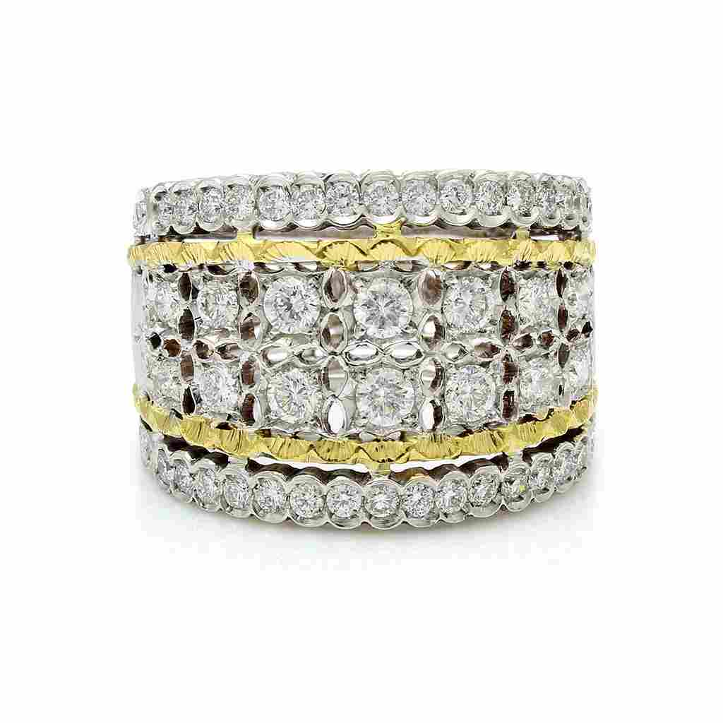 Mario Buccellati Diamond 18K Gold Band Ring