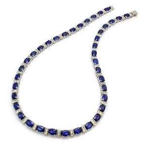 Ceylon Sapphire Diamond Platinum Necklace