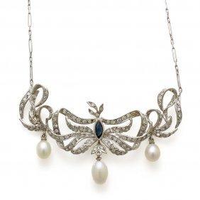 Cultured Pearl Diamond Sapphire Platinum Necklace