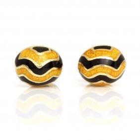 Black And Yellow Enamel In 18k Yellow Gold Cufflinks