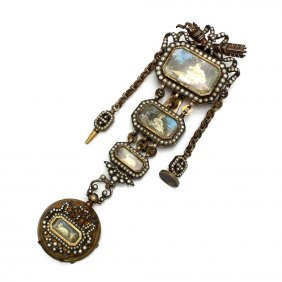 Victorian Natural Seed Pearl Extra Large Watch Pin