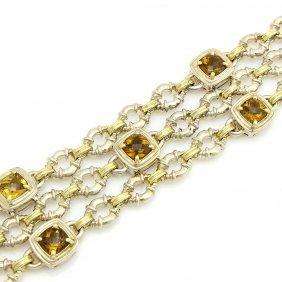 Charles Krypell 14k Gold Sterling Silver Topaz 3-strand