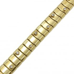 Italian 14k Yellow Gold Diamond Bracelet