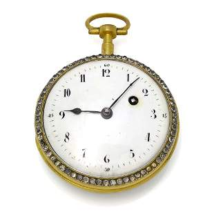Leton Silver Gilt Pocket Watch with Figural Enamel
