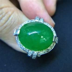 Important Jadeite Jade Type A Diamond Gold Ring