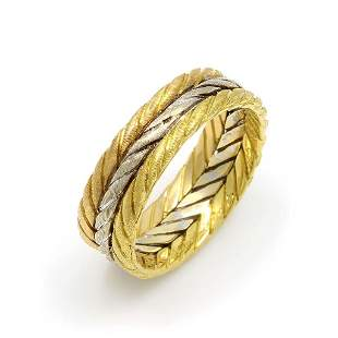 Buccellati Tri-Color 18K Gold Textured Band Ring
