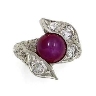 Star Ruby Diamond 14K White Gold Hammered Ring
