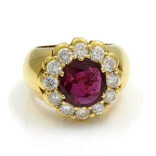 Ruby Diamond 14K Yellow Gold Cluster Ring