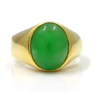 Jade 18K Yellow Gold Men's Ring