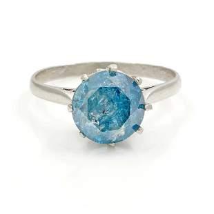 Blue Diamond 14K White Gold Engagement Ring