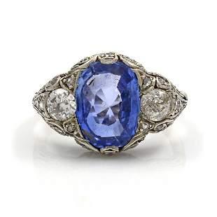Edwardian Ceylon Sapphire Diamond 18K Gold Ring