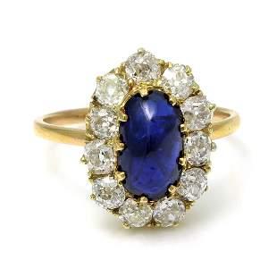 Cabochon Sapphire Diamond 14K Gold Ring