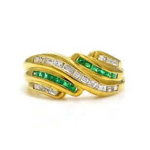 Diamond Emerald 18K Yellow Gold Ring