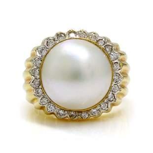 Mabe Pearl Diamond 18K Yellow Gold Ring