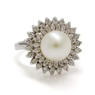 Pearl Diamond Cluster 18K White Gold Ring