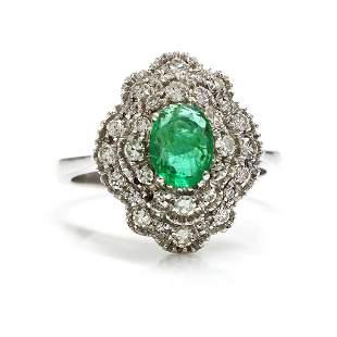Emerald Diamond 18K White Gold Cluster Ring