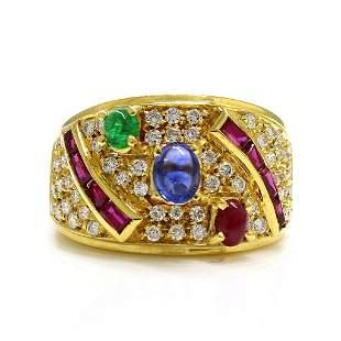 Diamond Sapphire Ruby Emerald 18K Yellow Gold Ring