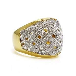 Diamond 18K Gold Two Tone Openwork Ring