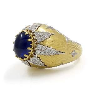 Buccellati Cabochon Sapphire Diamond Two Tone 18K Gold