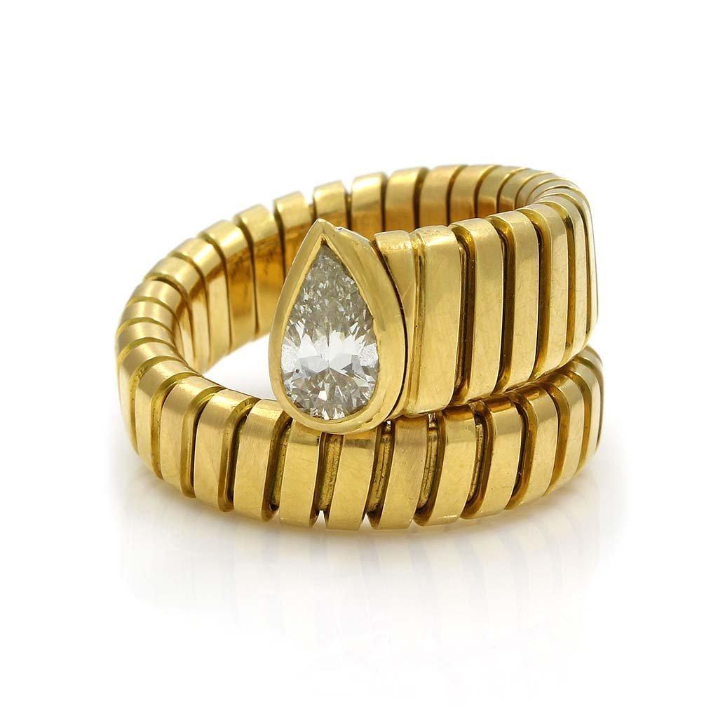 Bulgari Diamond 18K Gold Flexible Serpenti Ring