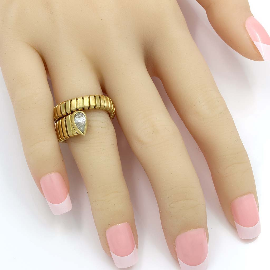 Bulgari Diamond 18K Gold Flexible Serpenti Ring - 2