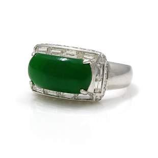 Jadeite Jade Diamond 14K White Gold Ring