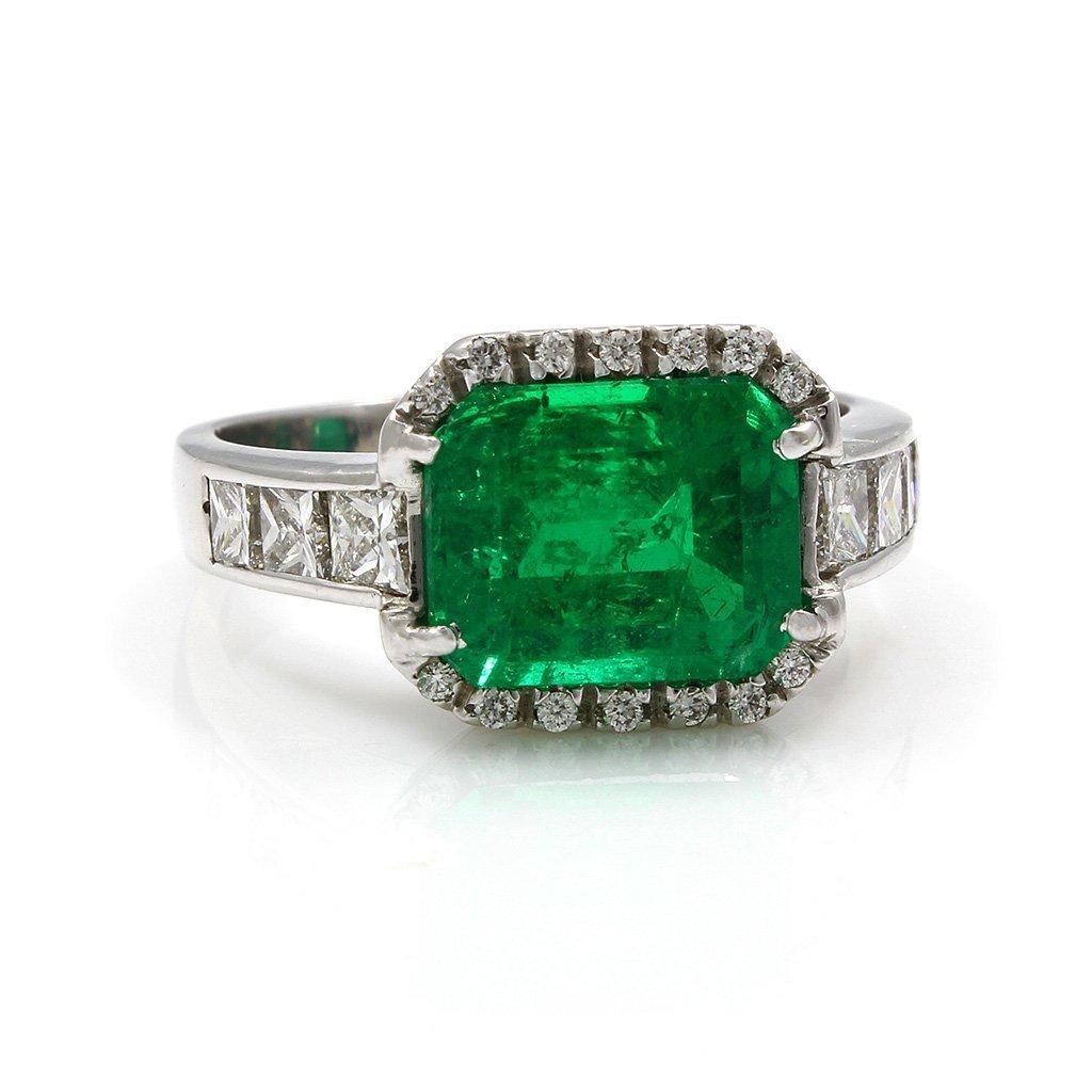 Emerald Diamond 18K White Gold Ring
