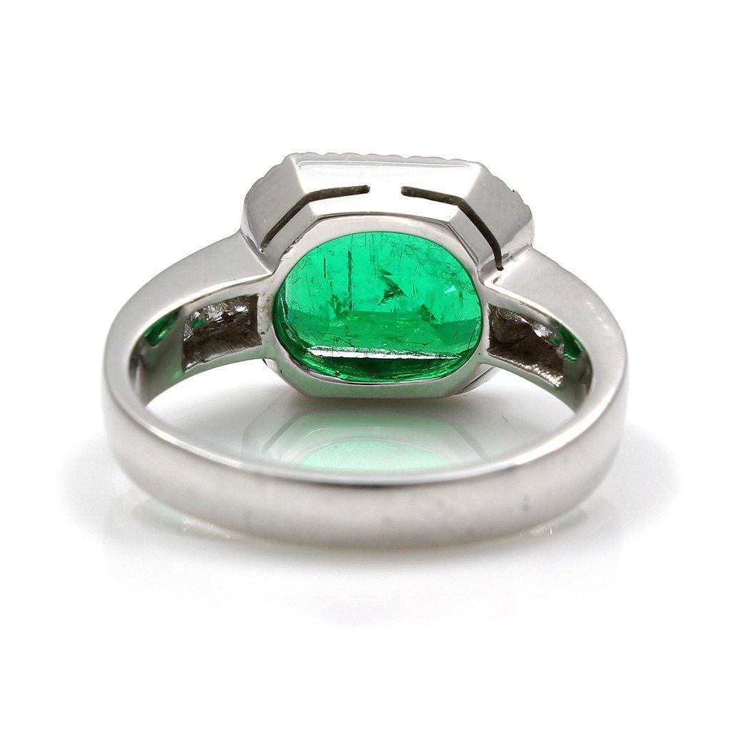 Emerald Diamond 18K White Gold Ring - 4