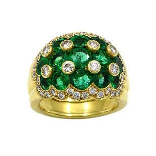 Van Cleef & Arpels Emerald Diamond 18K Gold Ring