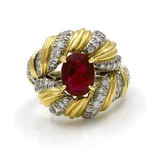 Tiffany & Co. Schlumberger Ruby Diamond 18K Gold Ring,