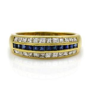Cartier Diamond Sapphire 18K Gold 3 Row Band Ring