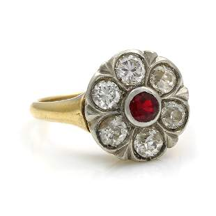 Antique Ruby Diamond 14K Two-tone Gold Ring