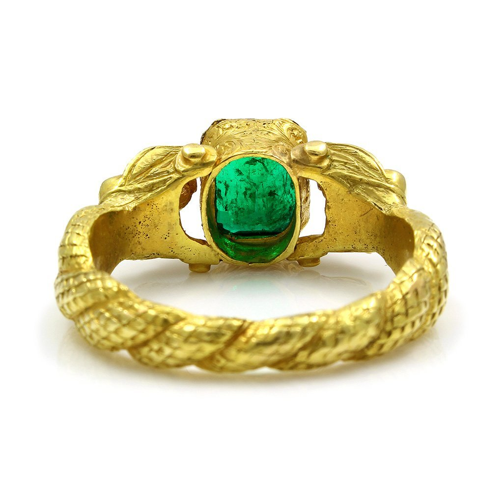 Antique Emerald 18K Yellow Gold Ring with 2 Body Figure - 5