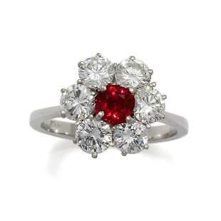 Diamond Ruby 18K White Gold Floral Ring