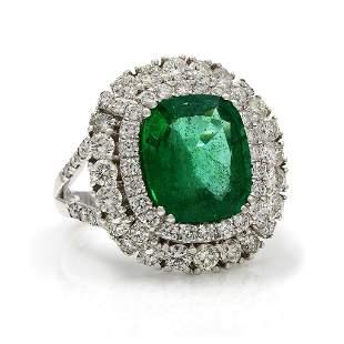 Emerald Diamond 18K Gold Cluster Ring