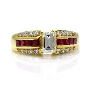 Diamond Ruby 14K Yellow Gold Ring