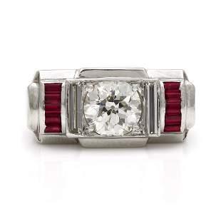 Diamond and Ruby Platinum Ring