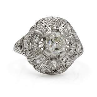 Art Deco Diamond Platinum Openwork Ring
