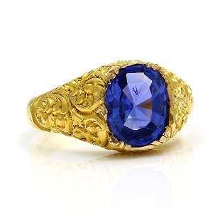 Antique Ceylon Sapphire 14K Gold Textured Ring