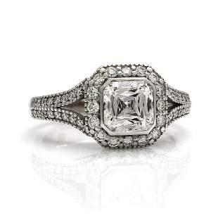 Crisscut Diamond in 18K White Gold Engagement Ring