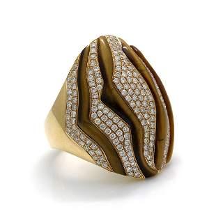 Diamond Tiger Eye 18K Rose Gold Ring