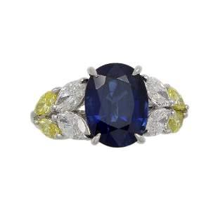 Sapphire, White and Yellow Diamond Platinum Ring