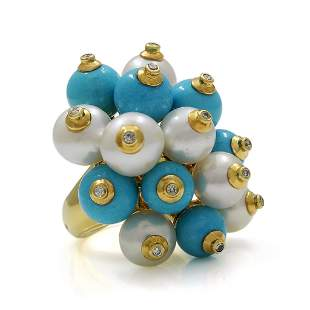 Turquoise Pearl Diamond 18K Gold Cluster Ring