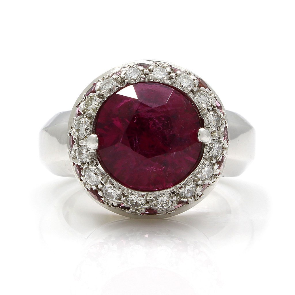 Tourmaline Diamond 18K White Gold Ring - 2