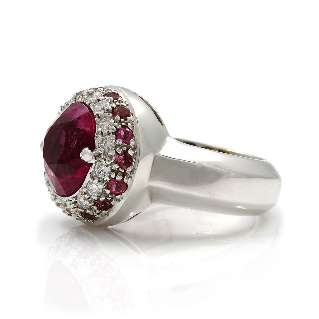 Tourmaline Diamond 18K White Gold Ring - 3