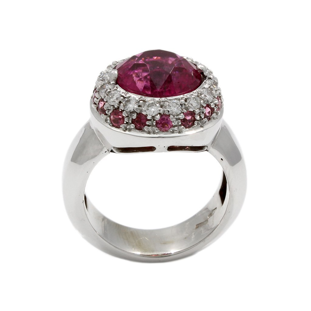 Tourmaline Diamond 18K White Gold Ring - 5