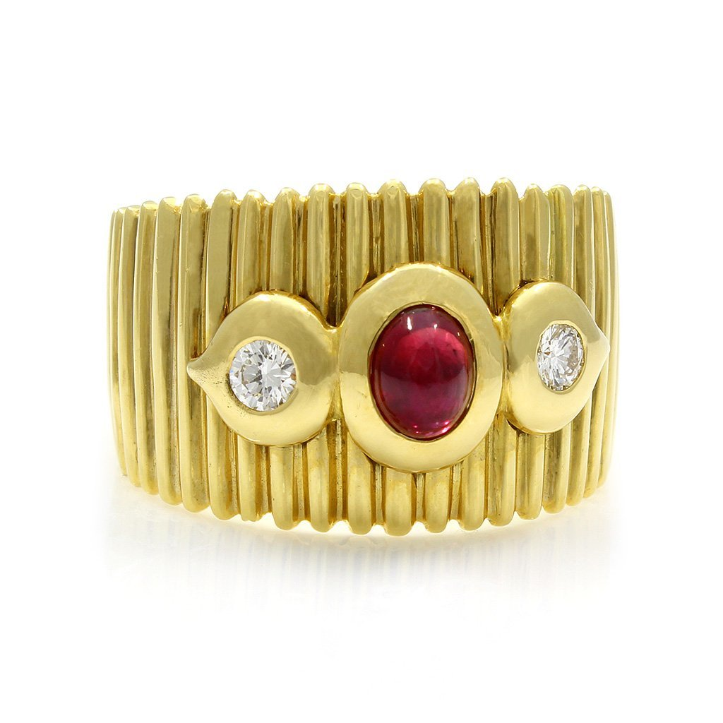 Cabochon Ruby Diamond 18K Yellow Gold Ring