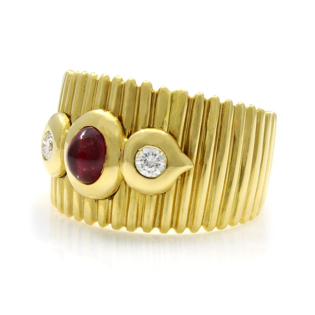 Cabochon Ruby Diamond 18K Yellow Gold Ring - 2