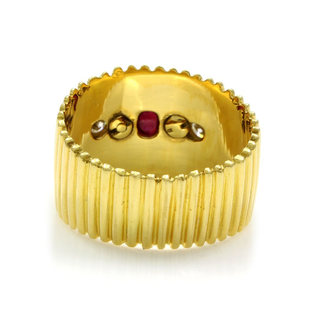 Cabochon Ruby Diamond 18K Yellow Gold Ring - 3